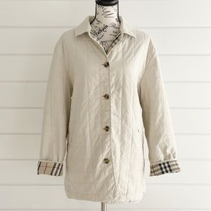 Burberry Quilted Nova Check Detail Off White Jacket Coat Size 46 US 12 or L/XL